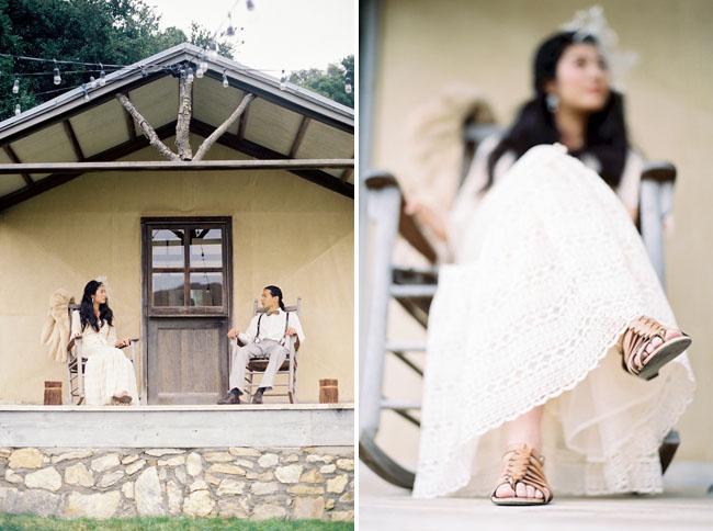 bride wearing sandals