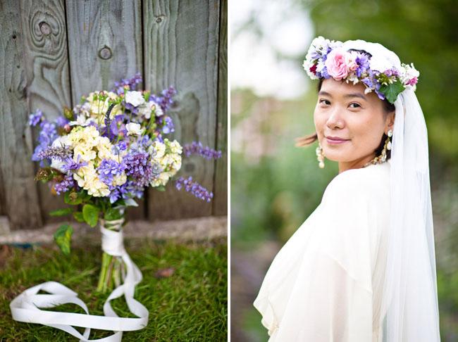 bride in flower hair wreath