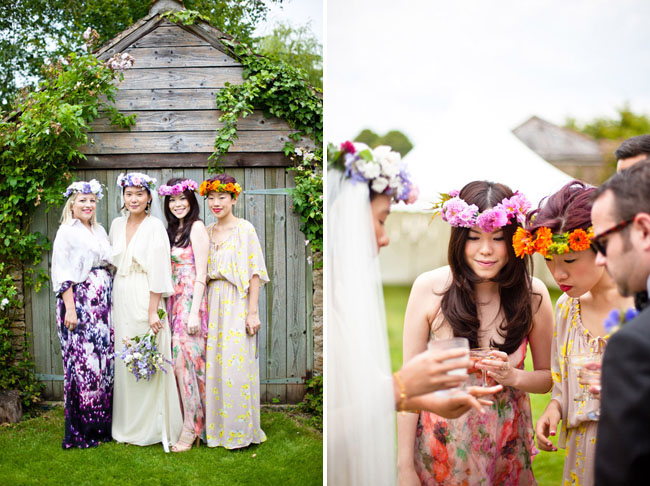 bridesmaids wearing flower hair wreaths