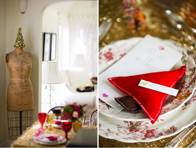 triangle pin cushion pillow plate setting