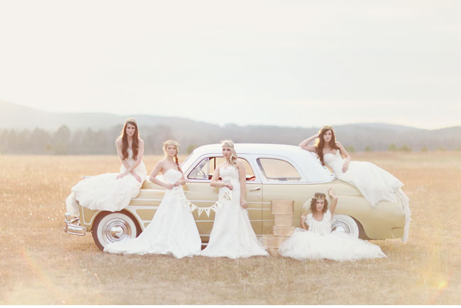 girls in wedding dresses, white vintage car