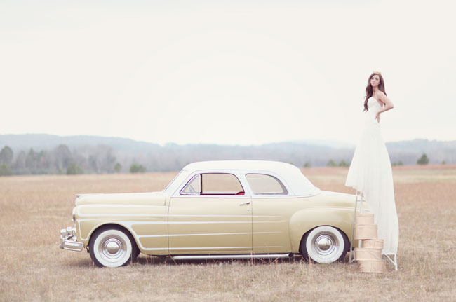 vintage car, wedding dress, girls in field