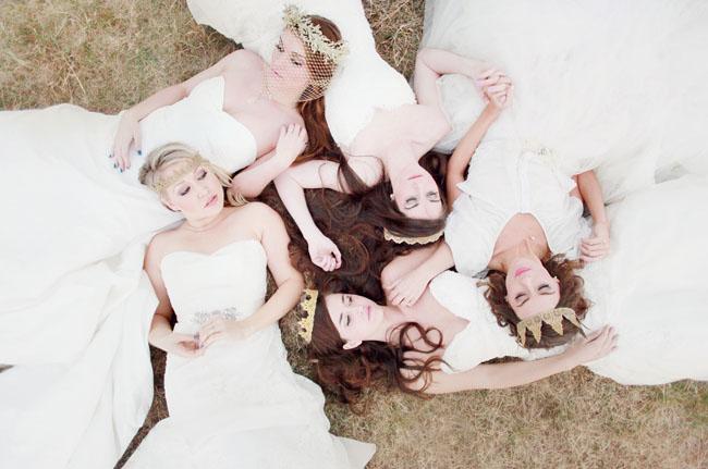 girls in wedding dresses, paper crowns