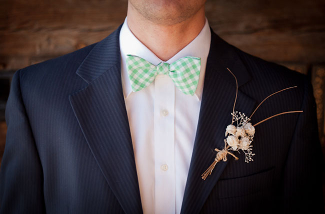 green checked bow ties