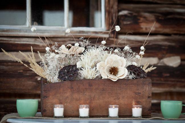 wooden flower centerpiece