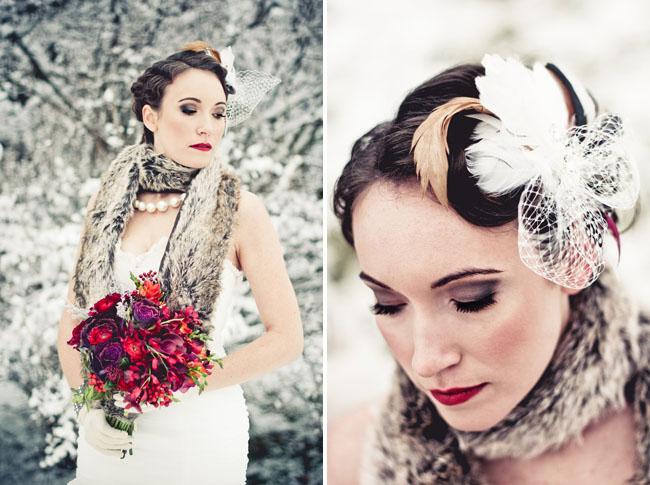 red bouquet, fur wrap, snow