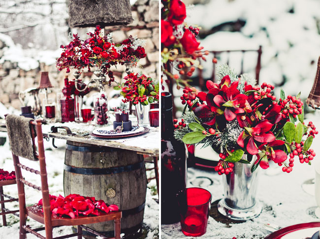 red winter tablescape