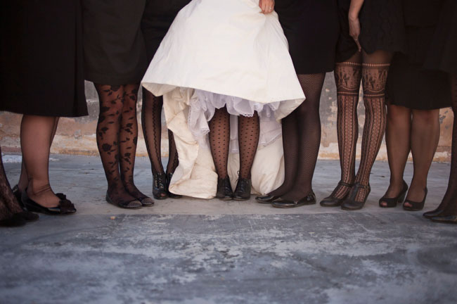 bridesmaids in black tights