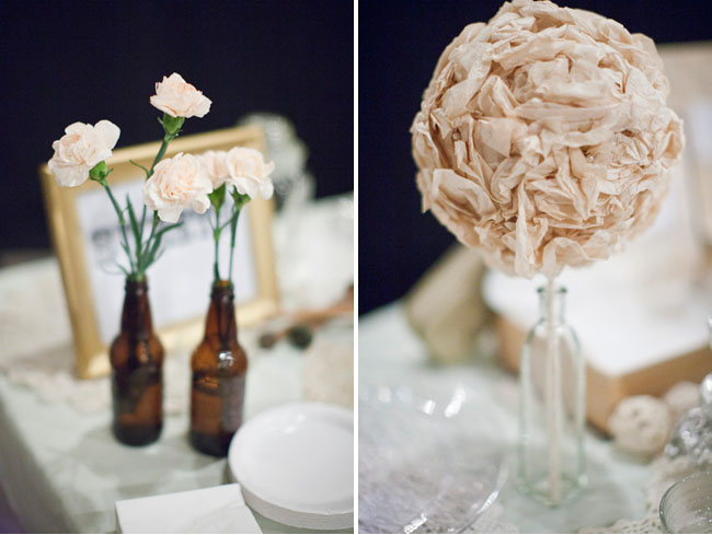 flowers in bottles table decor