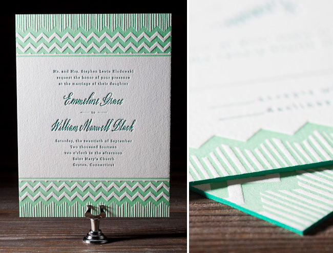 mint green letterpress wedding invitations