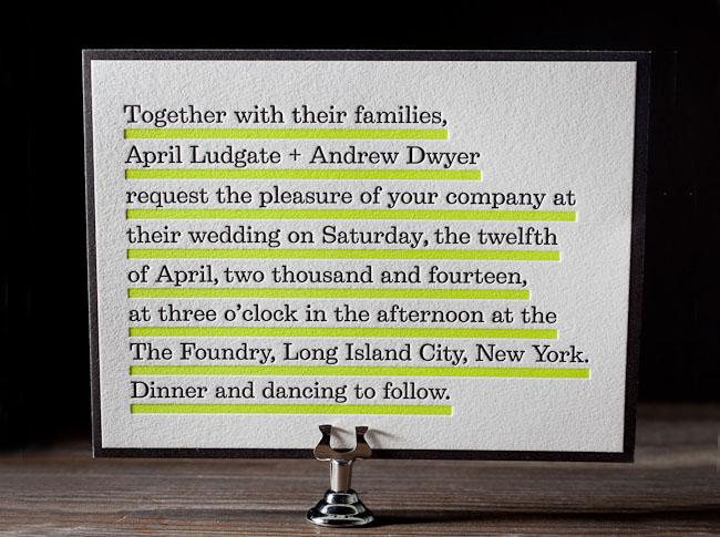 neon letterpress wedding invitations