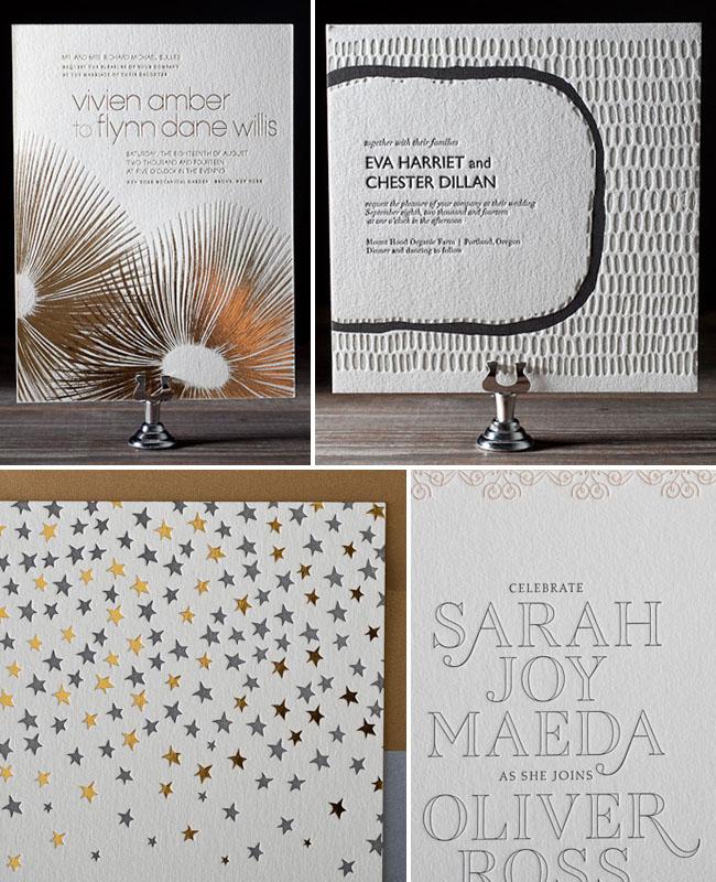 metallic letterpress wedding invitations