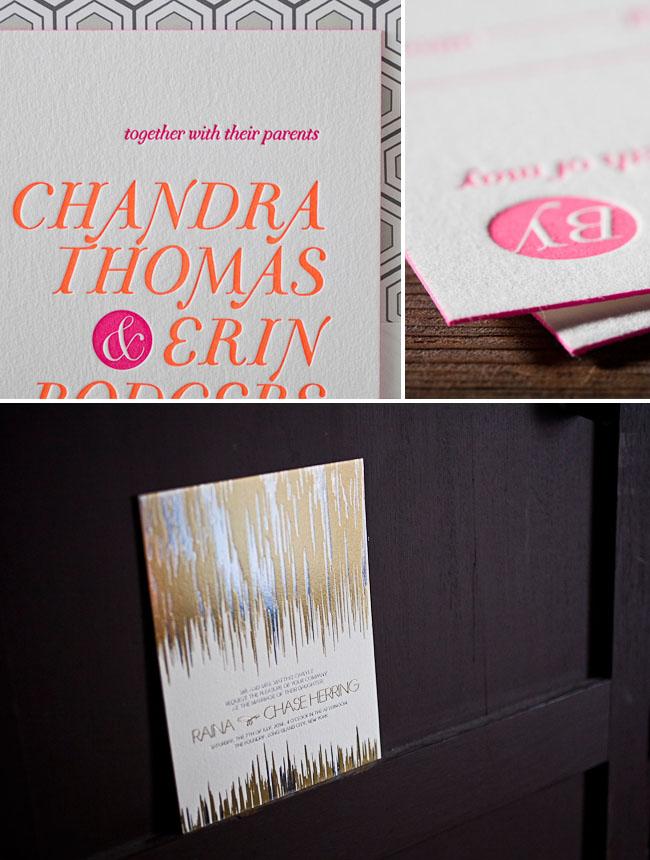 neon metallic letterpress wedding invitations