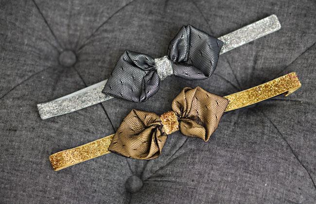 DIY bow tie silver gold
