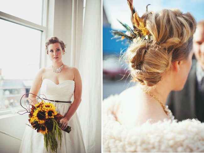vintage carnival wedding sunflower bouquet