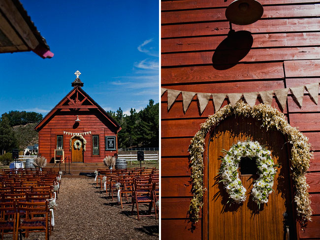 ranch ceremony, burlap altar bunting