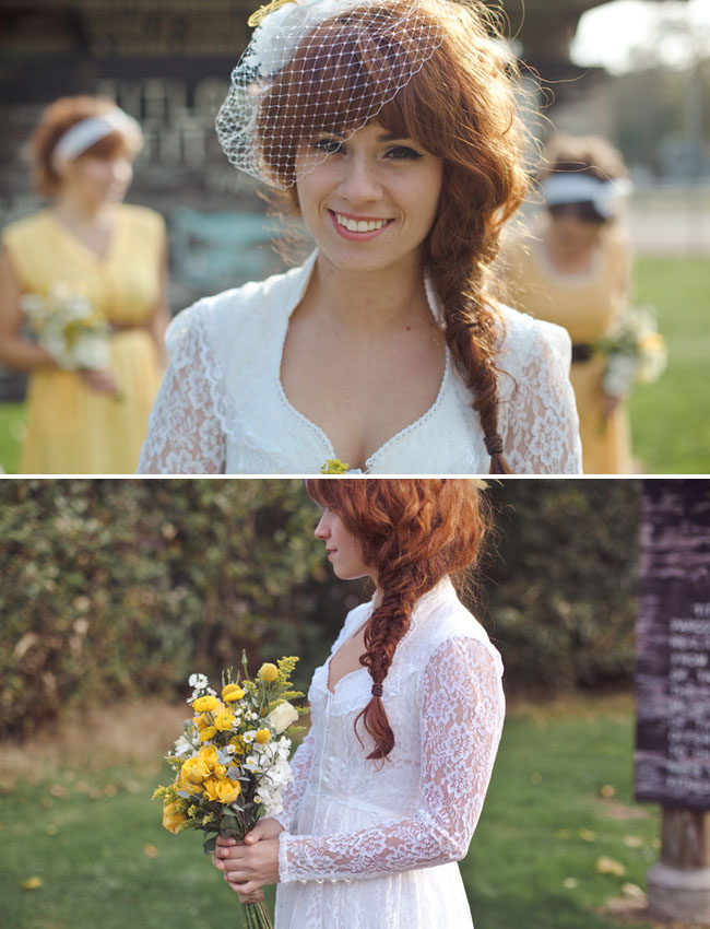 bride in vintage lace wedding gown