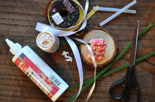 DIY floral cake topper supplies