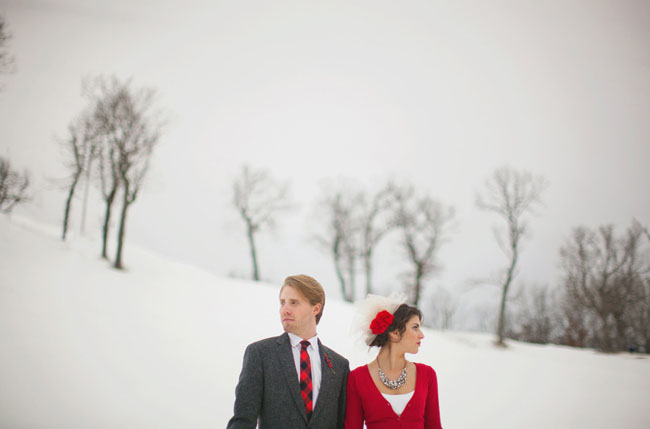 bride in red cardigan