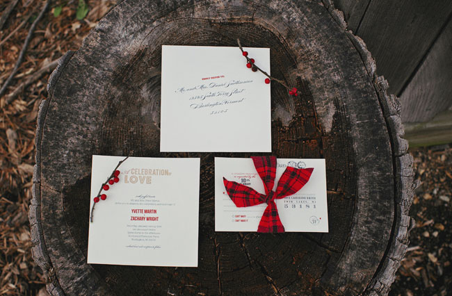 red plaid inspired wedding invitations