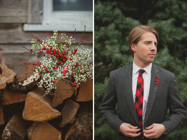 white and red bouquet, groom wearing plaid tie