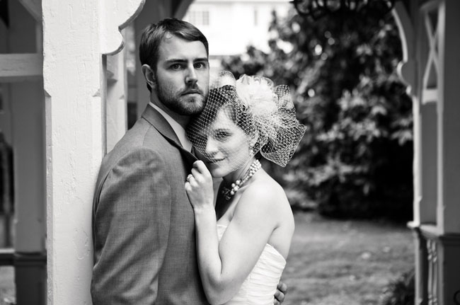 wedding portrait in black and white