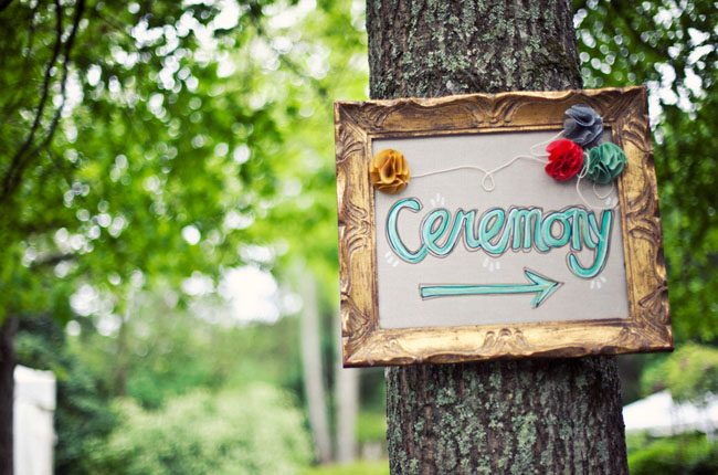 ceremony sign on a tree