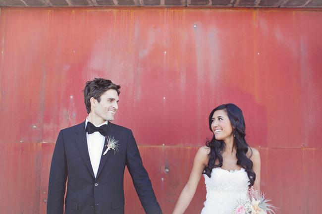 groom in black bowtie