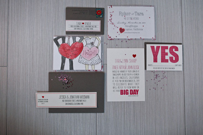 heart wedding invitation suite