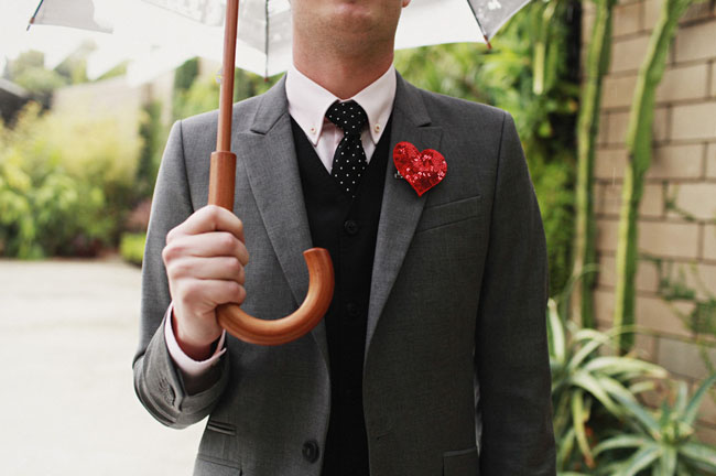 red sequin boutonniere