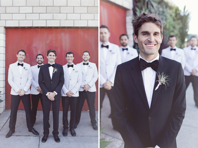 groomsmen wearing white tuxes