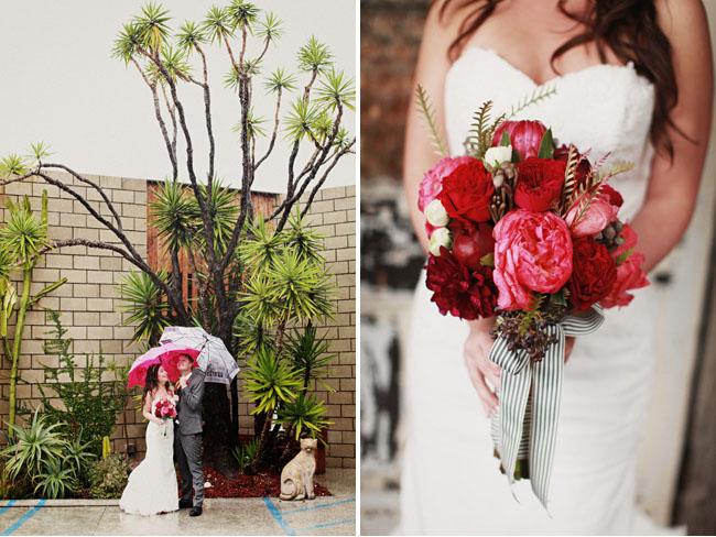 bride and groom, umbrellas
