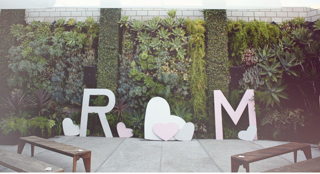 giant heart ceremony backdrop
