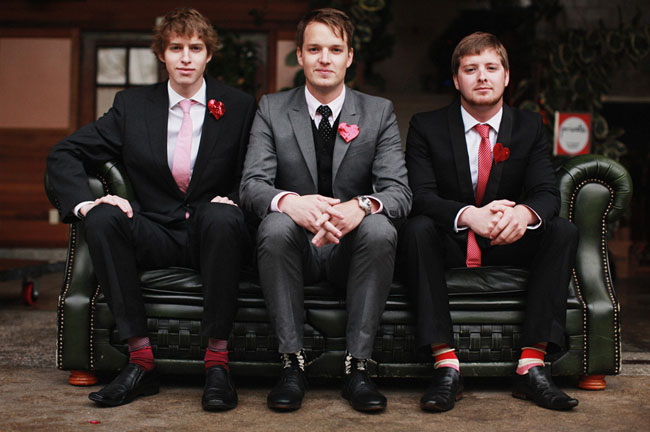 groomsmen in red socks
