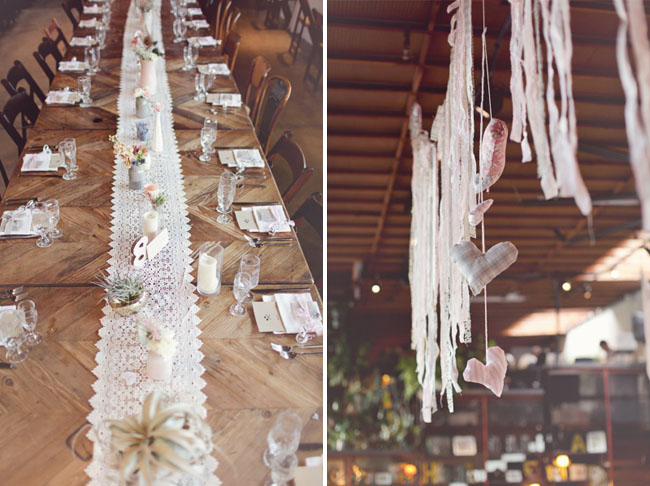 lace tabble runner, airplant centerpieces