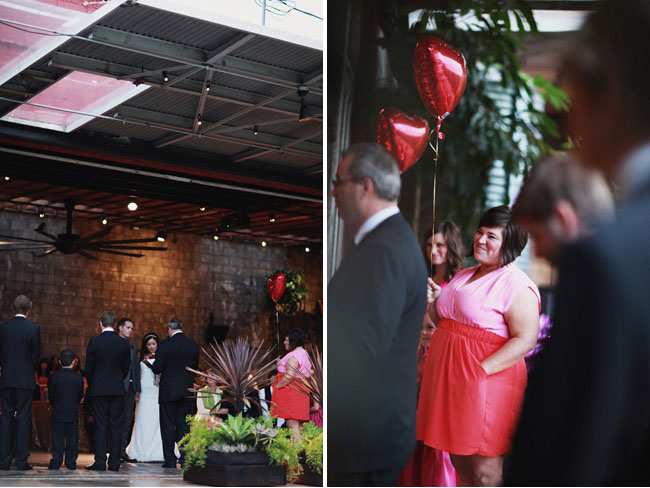 bridesmaid with red heart balloon