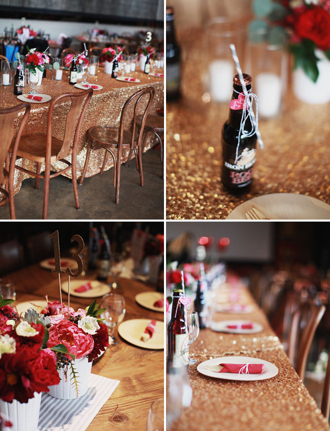 gold sequin table cloth, vintage soda bottles