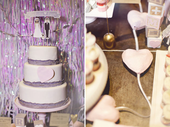 purple lace trim wedding cake