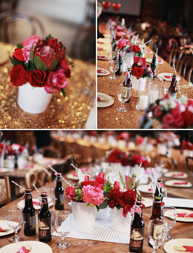 red and pink centerpieces