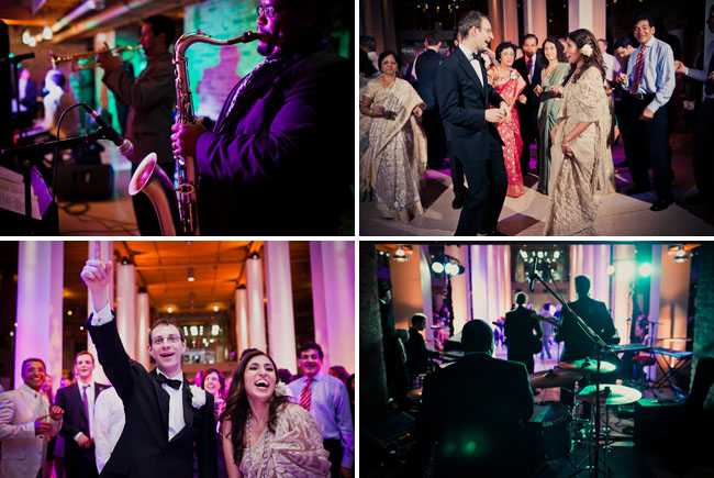 reception dancing, band