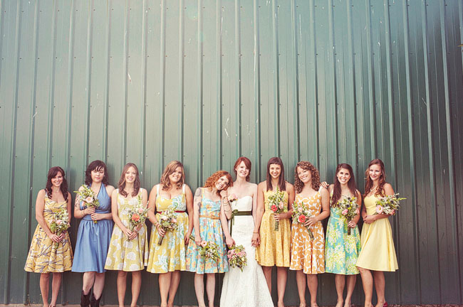 bridemaids in prints