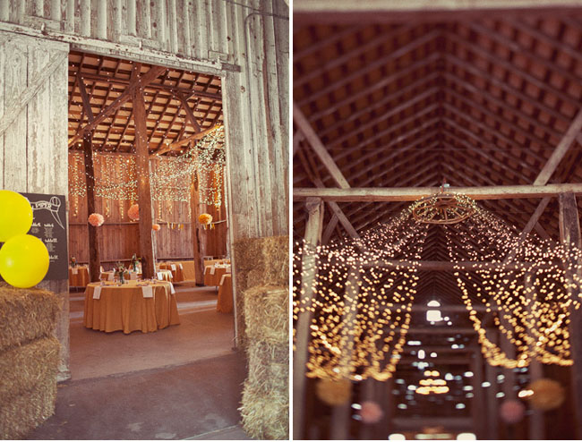 string lights in barn