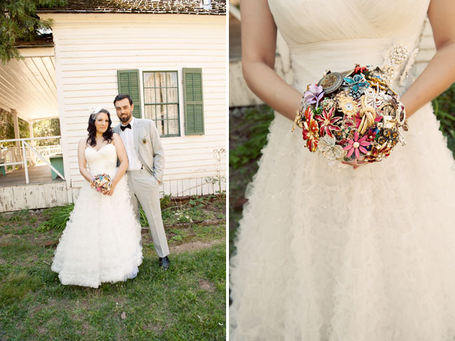 An eclectic anthropologie diy wedding green wedding shoes brooch bouquet junglespirit Choice Image