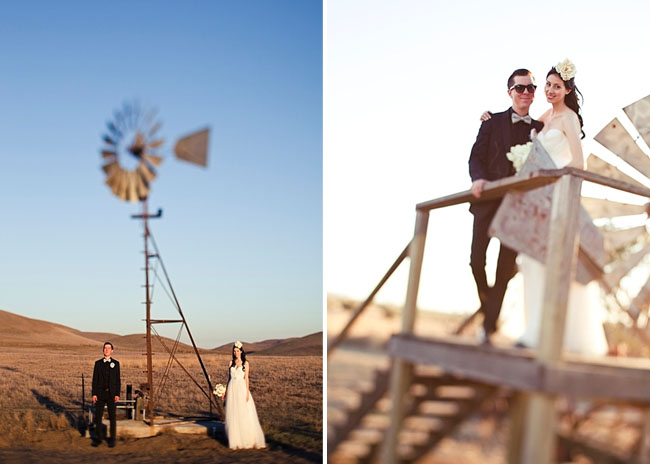 bride and groom by a windmill