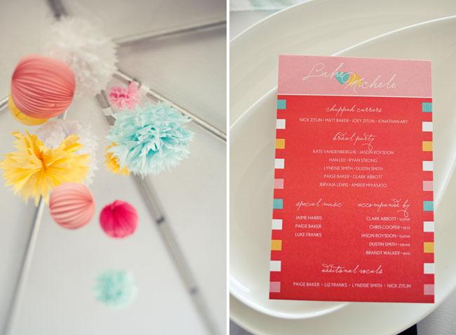 tissue paper ball reception decor