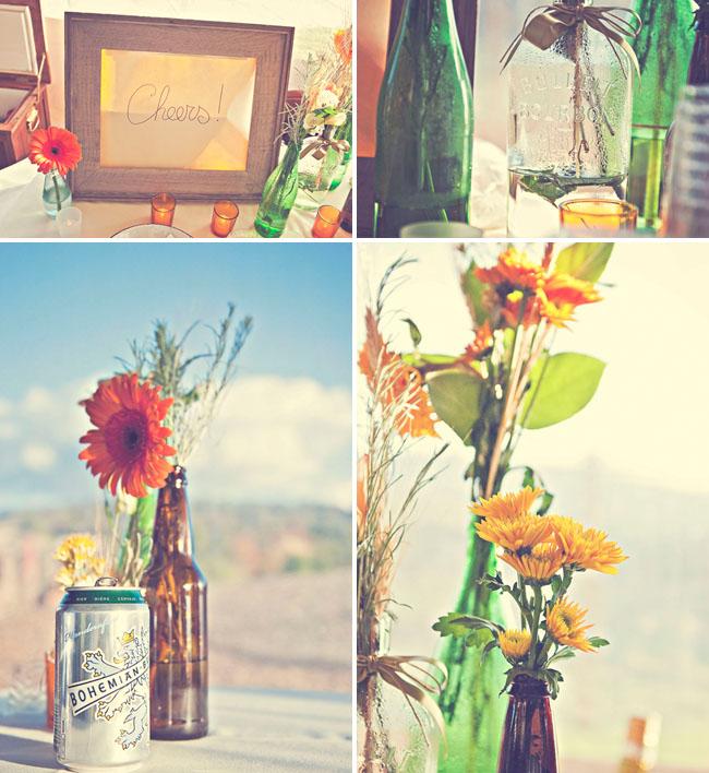 flowers in bottles