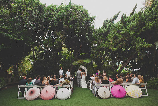 outdoor ceremony, umbrellas