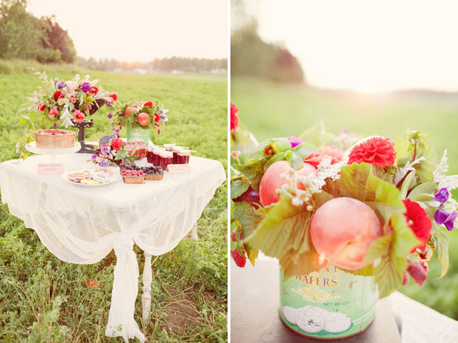 peach tablescape