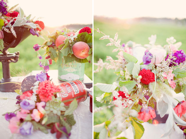 red and purple tablescape florals