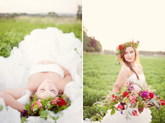 bride wearing floral wreath